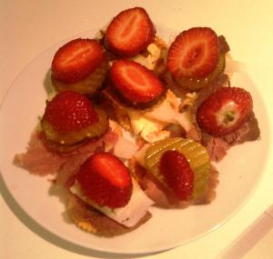 Jatz with Manchego cheese, thin sliced roast beef, bread & butter cucumber pickles, butter and winter strawberries...