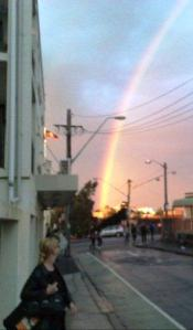 A rainbow over our shoulders - mine, and Sydney's.