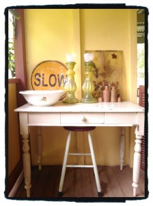 verandah table: all, including the table & stool, are found objects plus $5 old bowl, and solar candle lights & stool rubbers purchased from Bunning Warehouse