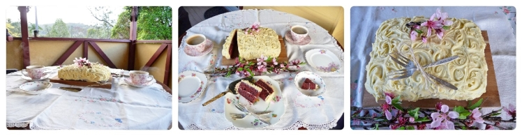 We set the table with a pretty tablecloth & crockery, and finished with a ceremonial cutting & eating of wedding cake.