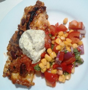 Beef and Bean Enchiladas with Corn Salsa and Spiced Persian Yoghurt