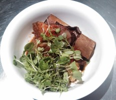 Her's: beef short ribs, mash and micro salad