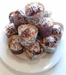 my contribution to my workplace's morning tea fundraiser: chilli chocolate lamington cup cakes with plum and sweet chilli sauce centres