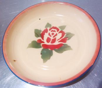 Rose enamel plate from Happy Pockets, Enmore Road, Newtown