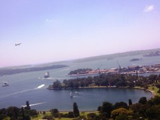 Will miss: the harbour view... with blimp, navy ship and sailing boats