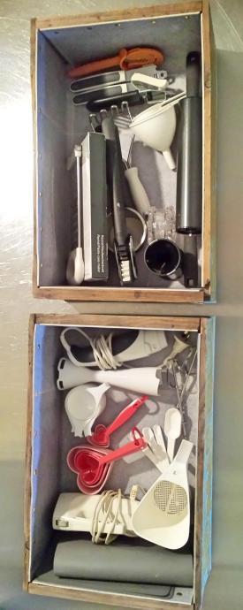 Lino-lined Newling's cordial box drawers