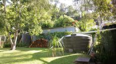 Backyard with rainwater tanks, wood heap, Japanese Raisin Tree and grape, passionfruit & choko vines on the fence