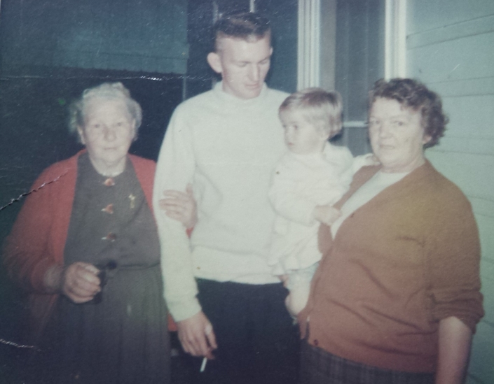 four generations, dad, nanna holding me, and her mother