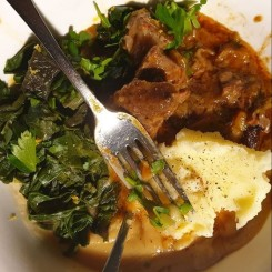 #winter2020 food: local grown silverbeet and parsnips pureed, mashed potato with osso bucco
