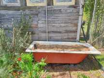 Bathtub wicking bed project waiting for plants.