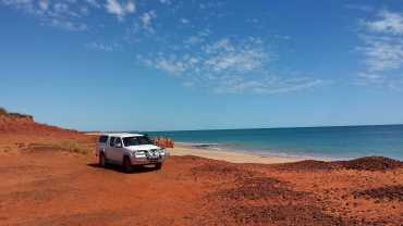 2016 trip: Our trusty BT50 at the beaches north of Broome, Western Australia