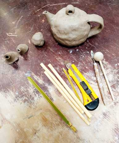 Fundamentals in Clay: Teapot w.i.p. and learning how to make bamboo tools.
